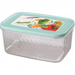 Контейнер для замораживания и хранения продуктов с декором «Кристалл»; полипроп.; 1, 3л; голуб.