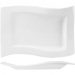 Блюдо волн. прямоугольное «Кунстверк»; фарфор; H=27, L=330, B=210мм; белый