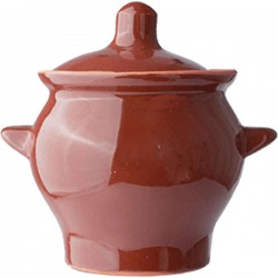 Горшок для запекания ; керамика; 0, 65л; D=11, H=14, 5см; тем.корич.