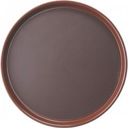 Поднос круглый; полипроп., прорезин.; D=356, H=25мм; коричнев.