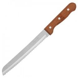 Нож для хлеба; сталь, дерево; L=320/190, B=23мм; коричнев.,