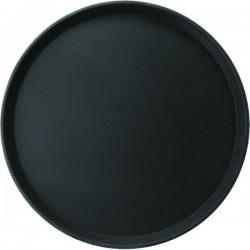 Поднос круглый; стеклопласт., прорезин.; D=356, H=25мм; черный
