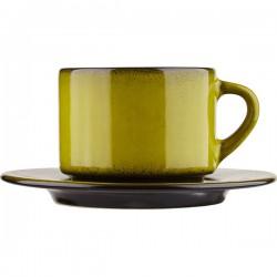 Пара чайная «Млечный путь салатовый»; фарфор; 200мл; D=15, 5см; салатов., черный