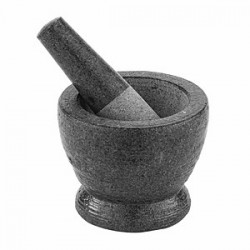 Мадлер со ступкой; нат.камень; гранит; 410мл; D=11, H=12, L=20см; серый