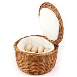 Корзина для яиц; дерево, текстиль; D=26, H=17см; коричнев.