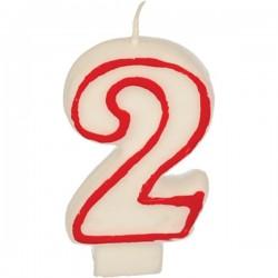Свеча-цифра ко дню рождения «2»; воск; H=16, L=144/74, B=84мм; белый, красный