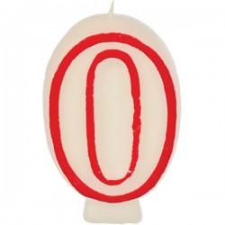 Свеча-цифра ко дню рождения; воск; H=16, L=144/74, B=84мм; белый, красный