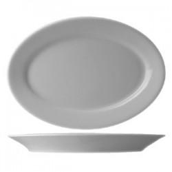 Блюдо овальное «Прага»; фарфор; H=3, L=37, B=26см; белый