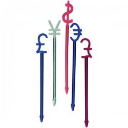 Пики для канапе «Валюта»[300шт]; полистирол; L=82мм; разноцветн.