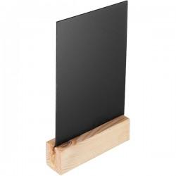 Меловой тейбл-тент А5 деревян. основание; H=240, L=150, B=45мм; черный, деревян.