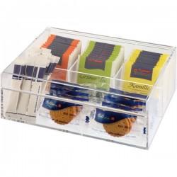 Контейнер для пакетиков чая 4 отделения; акрил; H=9, L=22, B=17см;