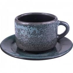Пара кофейная «Млечный путь бирюза»; фарфор; 80мл; бирюз., черный