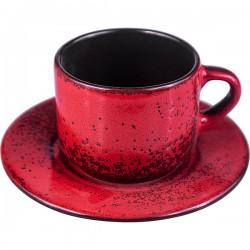 Пара чайная «Млечный путь красный»; фарфор; 200мл; D=15, 5см; красный, черный