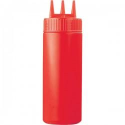 Емкость для соусов с тремя носиками; пластик; 350мл; D=7, H=20см; красный