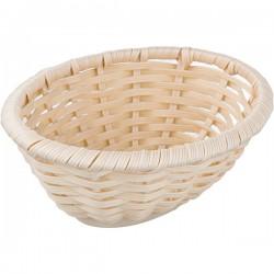 Корзина плетен. для хлеба овал.; полиротанг; H=65, L=185, B=145мм; бежев.