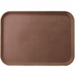 Поднос прямоуг.; пластик, прорезин.; H=20, L=355, B=255мм; коричнев., серый