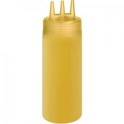 Емкость для соусов с тремя носиками; пластик; 0, 69л; D=7, H=26см; желт.