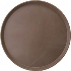 Поднос круглый; пластик, прорезин.; D=356, H=25мм; коричнев., серый