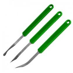 Набор конд. ножей изогн. лезвие[2шт]; нержавеющая сталь, L=145/65, B=6мм; зелен.,
