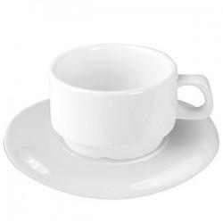 Пара чайная «Кунстверк»; фарфор; 250мл; D=95, H=69, B=155мм; белый