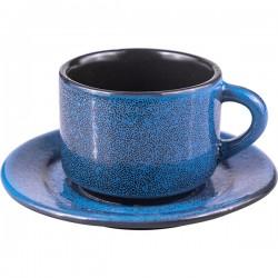 Пара кофейная «Млечный путь голубой»; фарфор; 80мл; голуб., черный