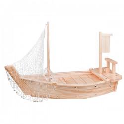 Блюдо «Корабль»; сосна, сталь; H=80, L=420, B=165мм; бежев.