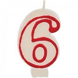 Свеча-цифра ко дню рождения «6»; воск; H=16, L=144/74, B=84мм; белый, красный