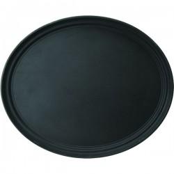 Поднос овальный; пластик, прорезин.; H=3, L=59, B=49см; черный