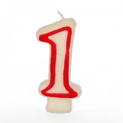 Свеча-цифра 1 ко дню рождения; воск; H=16, L=144/74, B=84мм; белый, красный