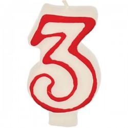 Свеча-цифра ко дню рождения «3»; воск; H=16, L=144/74, B=84мм; белый, красный