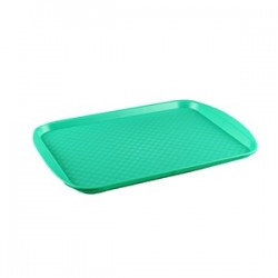 Поднос прямоуг.; пластик; H=15, L=420, B=300мм; зелен.