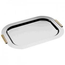 Поднос с золоч. ручками; сталь нерж.; H=18, L=600, B=420мм; металлич., золотой