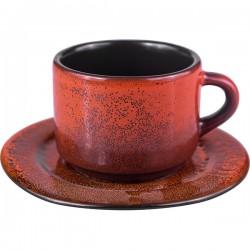 Пара кофейная «Млечный путь терракот»; фарфор; 80мл; терракот, черный