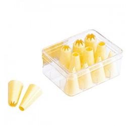 Набор кондит. насадок[12шт]; пластик; D=37, H=70, L=145, B=115мм; желт.