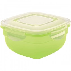 Контейнер д/пищев. продуктов с крышкой; полипроп.; 1л; H=8, L=16/16см; прозр., зелен.