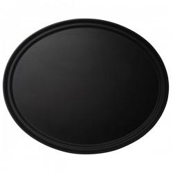 Поднос овальный; прорезин., пластик; H=2, L=68, B=56см; черный
