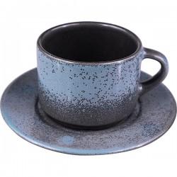 Пара чайная «Млечный путь бирюза»; фарфор; 200мл; D=15, 5см; бирюз., черный