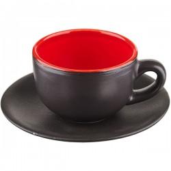 Пара чайная «Кармин»; керамика; 200мл; D=15см; красный, черный
