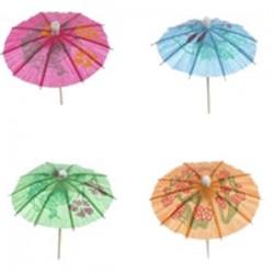 Зонтик на дерев. ножке[300шт]; бумага, дерево; H=68, L=248/100, B=119мм; разноцветн., бежев.