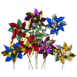 Ветряные мельницы на палочке[50шт]; берёза, фольга; H=4, L=23/16, B=12см; разноцветн., бежев.