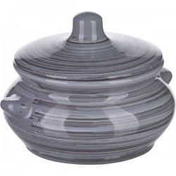 Горшок для запекания «Пинки»; керамика; 0, 5л; D=13см; серый