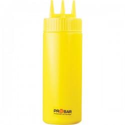 Емкость для соусов с тремя носиками; пластик; 350мл; D=7, H=20см; желт.