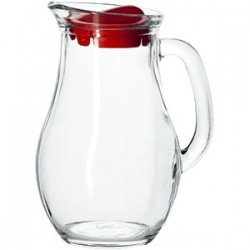 Кувшин «Бистро» с крышкой; стекло; 1л; D=12, 3, H=20, L=15, 8см; прозр., красный
