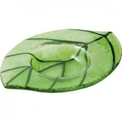 Подсвечник «Лиф»; стекло; H=72, L=124, B=90мм; зелен.
