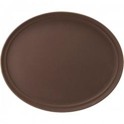 Поднос овальный; пластик, прорезин.; H=35, L=590, B=490мм; коричнев., серый