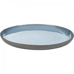 Блюдо «Даск»; керамика; D=317, H=25мм; серый, голуб.
