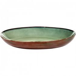 Блюдо глубокое; керамика; D=355, H=80мм; болотн., коричнев.