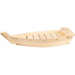 Блюдо «Корабль»; сосна, сталь; H=55, L=380, B=155мм; бежев., золотой