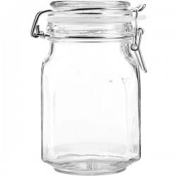 Банка для сыпучих продуктов , стекло; силикон, металл; 0, 8л; H=16см; прозр.