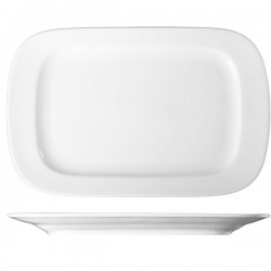 Блюдо прямоугольное «Прага»; фарфор; H=35, L=360, B=230мм; белый